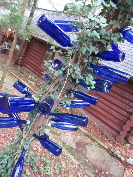 Bottle tree with blue bottles hanging from the branches cabin in the back ground