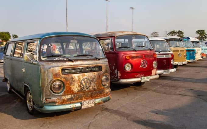 row of volkswagon vans multicolor