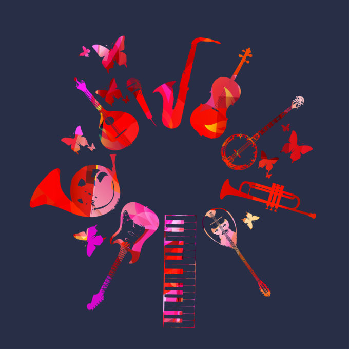 acoustic instruments arranged in circle
