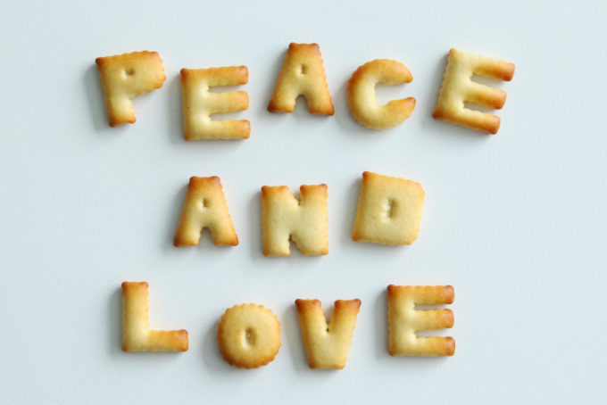 Peace love eat written with crackers