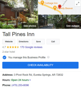 Knowledge panel of tall pines inn