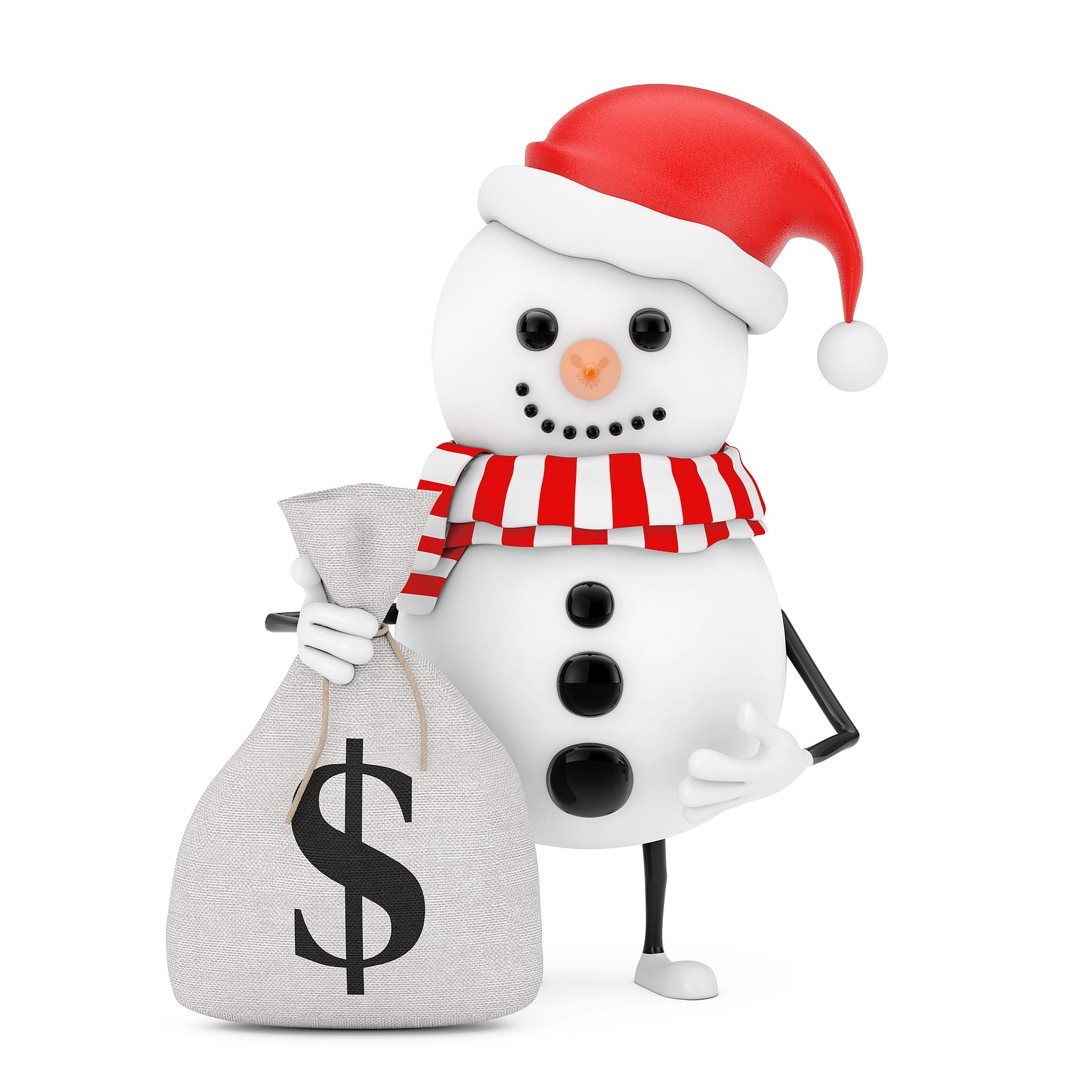 snowman holding a money bag