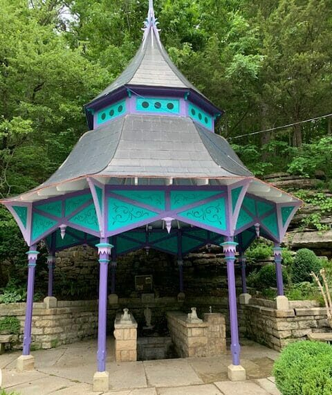 colorful gazebo covering a fresh water spring