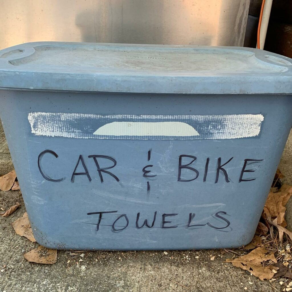 Blue Tote with the words Car and Bike Towels written on it